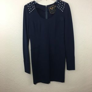 Jamison Navy Long Sleeves Studded Dress